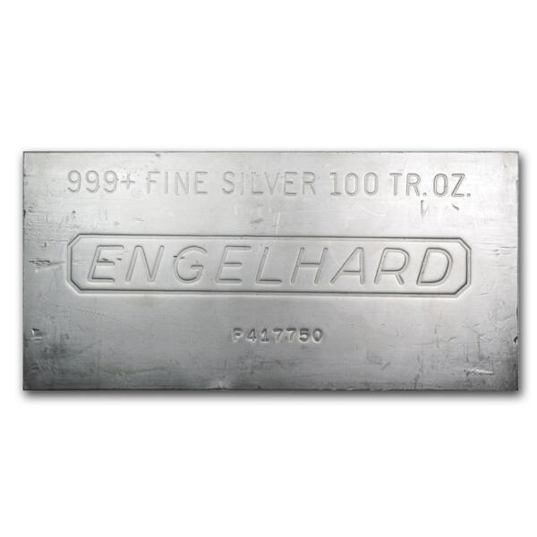 100 ounces  Silver Bar - Engelhard