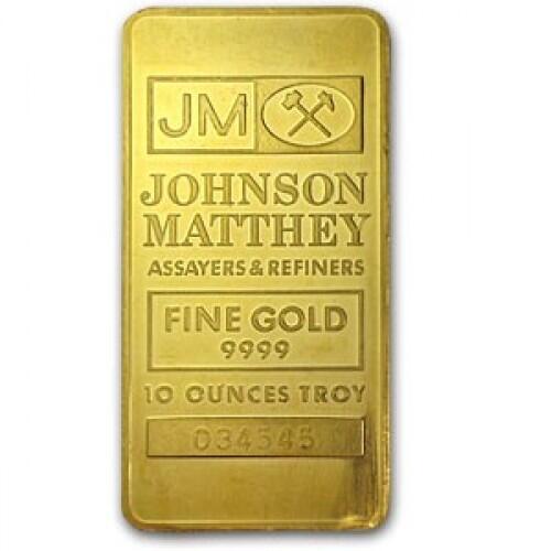 10 ounces  Gold Bar - Johnson Matthey
