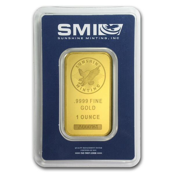 1 ounce  Gold Bar - Sunshine Mint