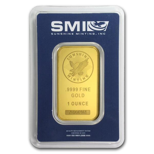 1 ounce  Gold Bar - Sunshine Mint