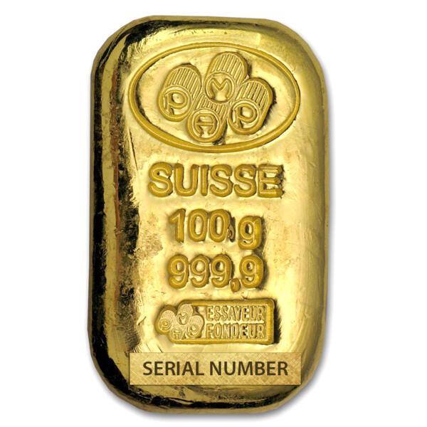 100 grams Cast Gold Bar - PAMP