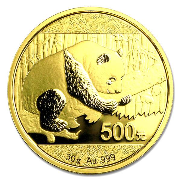 30 grams Gold Panda - Roll of 10 - 2016 - People's Bank of China