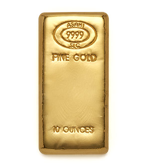 10 ounces Cast Gold Bar - Asahi Refining
