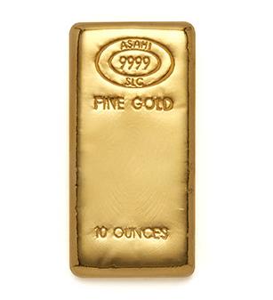 10 ounces Cast Gold Bar - Asahi Refining