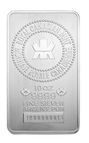 10 ounces  Silver Bar - Royal Canadian Mint