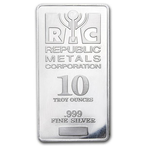 10 ounces  Silver Bar - Republic Metals Corporation