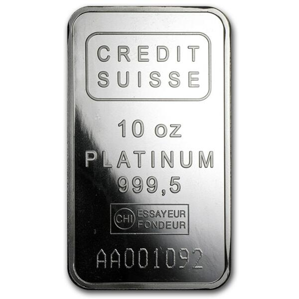 10 ounces  Platinum Bar - Crédit Suisse