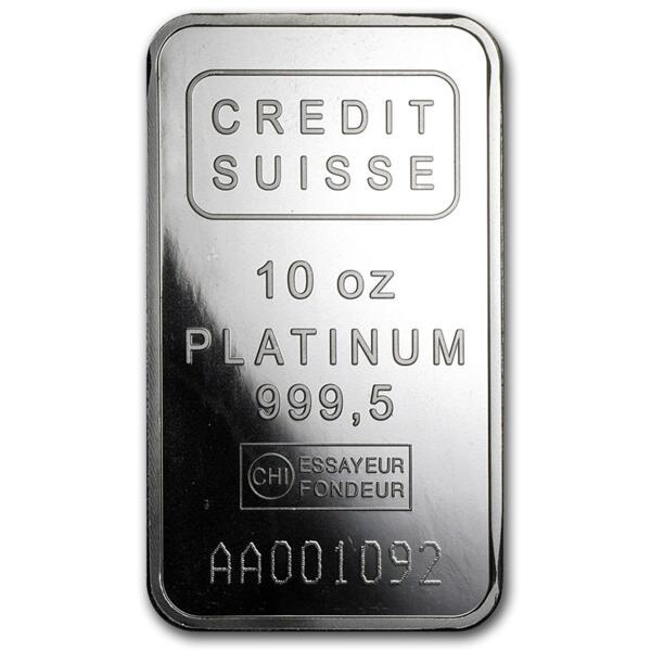 10 ounces  Platinum Bar - Crédit Suisse