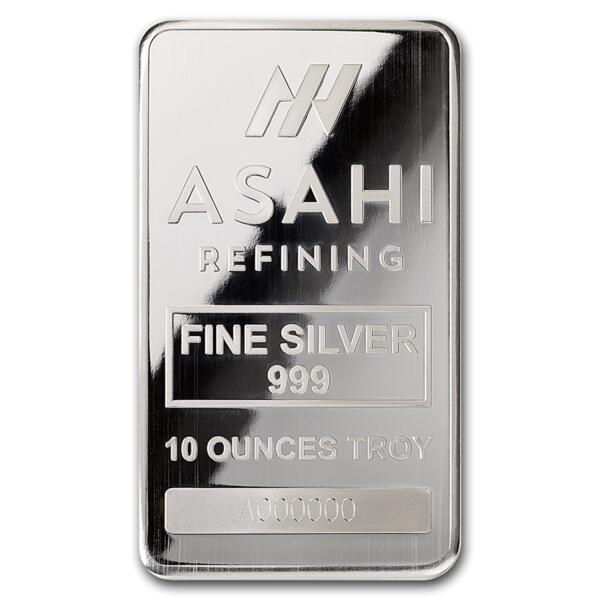 10 ounces  Silver Bar - Asahi Refining