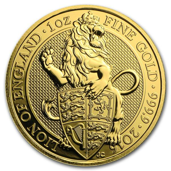 1 ounce Gold Queen's Beasts: The Lion - Roll of 10 - 2016 - British Royal Mint