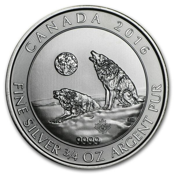 0.75 ounces Silver Howling Wolves - Monster box of 600 - 2016 - Royal Canadian Mint