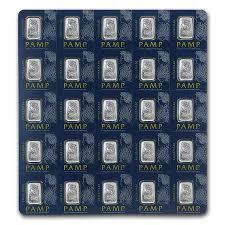 1 gram  Platinum Bar - Roll of 25 - PAMP