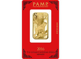 1 ounce Lunar 2016 Gold Bar - PAMP