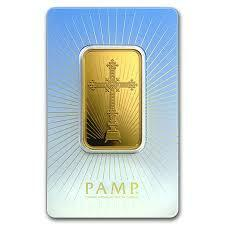 1 ounce religious romanesque cross Gold Bar - PAMP