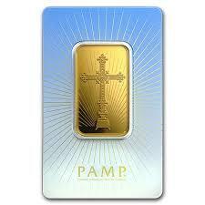 1 ounce religious romanesque cross Gold Bar - PAMP