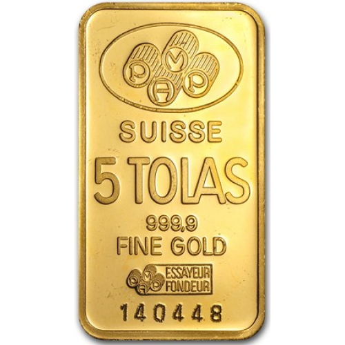 58.32 grams 5 tolas PAMP Gold Bar - PAMP