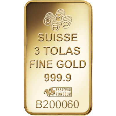 34.99 grams 3 tolas PAMP Gold Bar - PAMP