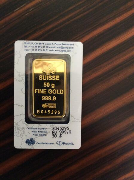 50 grams  Gold Bar - PAMP