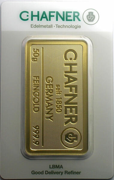 50 grams  Gold Bar - C.Hafner