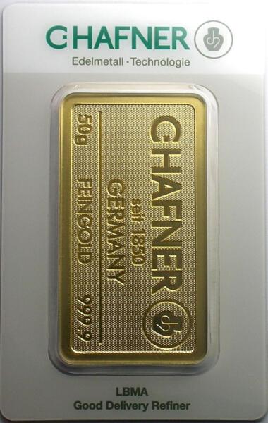 50 grams  Gold Bar - C.Hafner