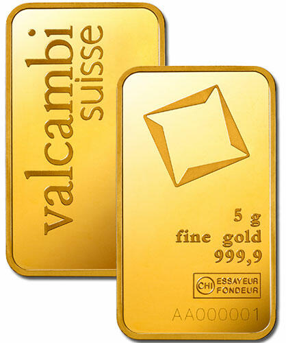 5 grams  Gold Bar - Valcambi