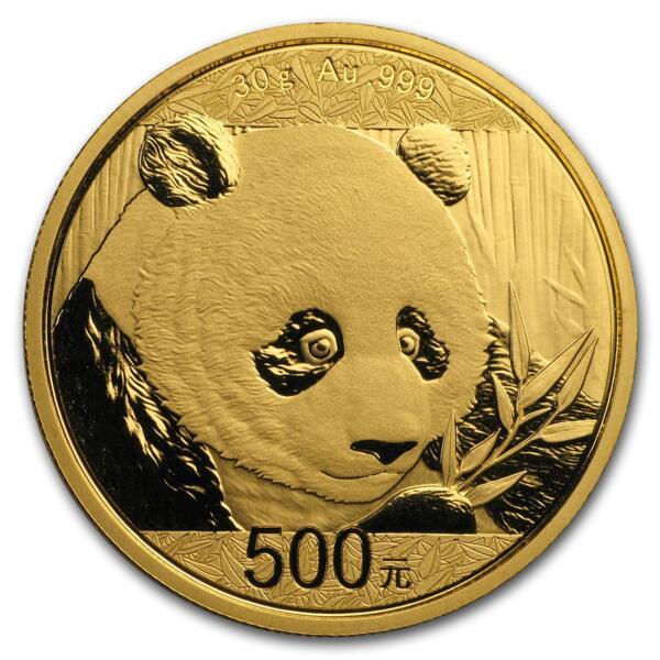 30 grams Gold Panda - Roll of 10 - 2018 - People's Bank of China