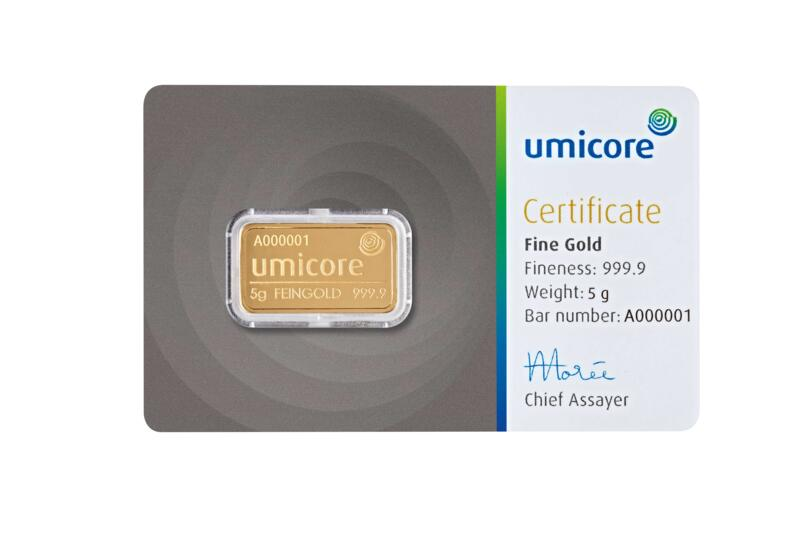 5 grams  Gold Bar - Umicore