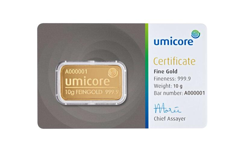 10 grams  Gold Bar - Umicore