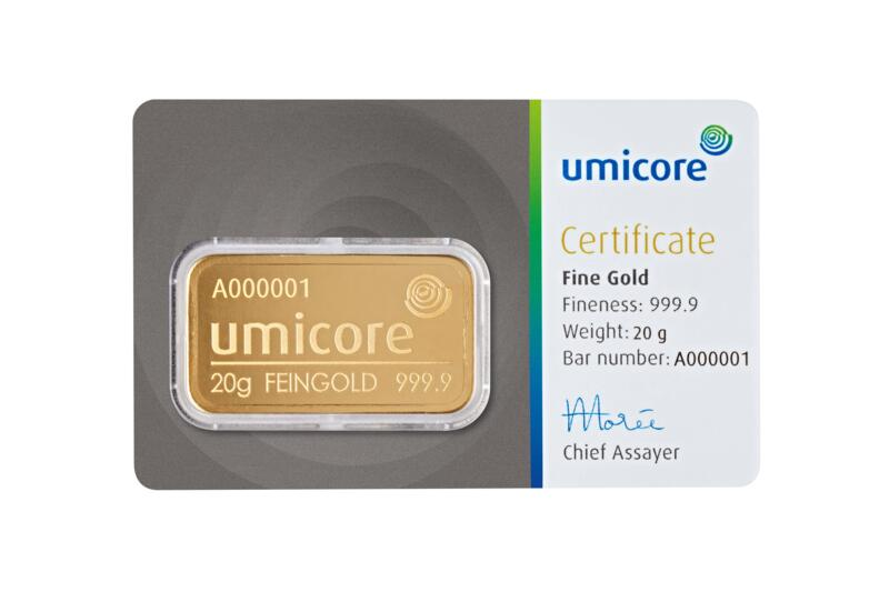 20 grams  Gold Bar - Umicore