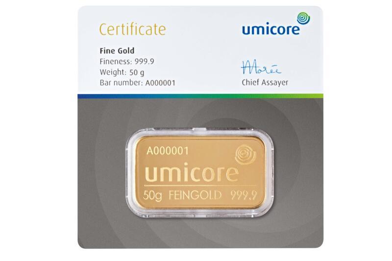 50 grams  Gold Bar - Umicore