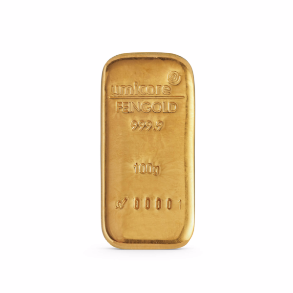 100 grams cast Gold Bar - Umicore