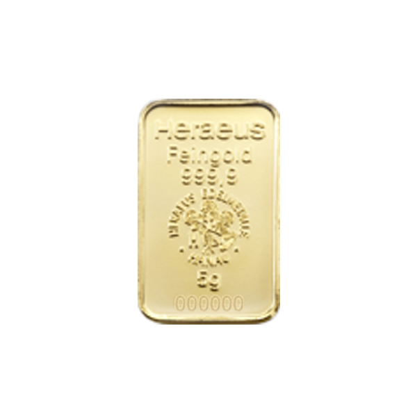 5 grams  Gold Bar - Heraeus