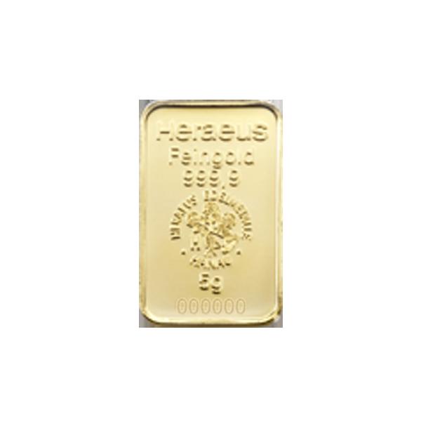 5 grams  Gold Bar - Heraeus