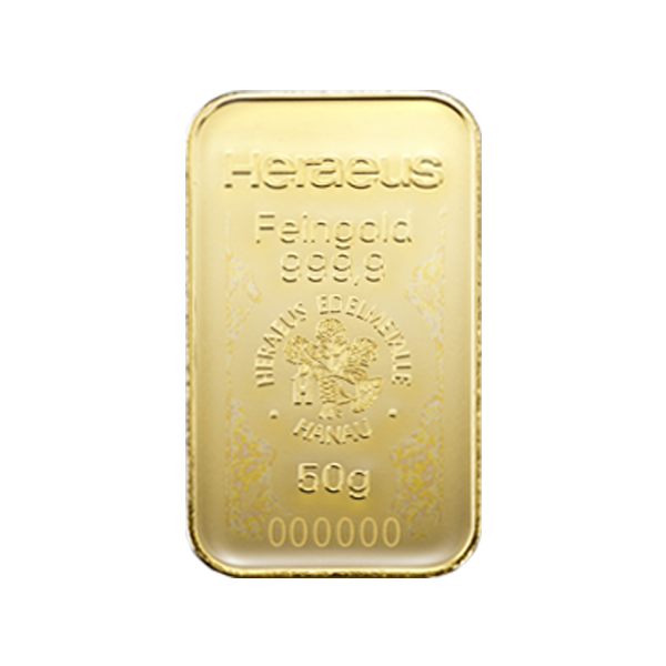 50 grams  Gold Bar - Heraeus