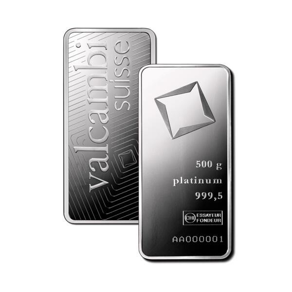 500 grams  Platinum Bar - Valcambi