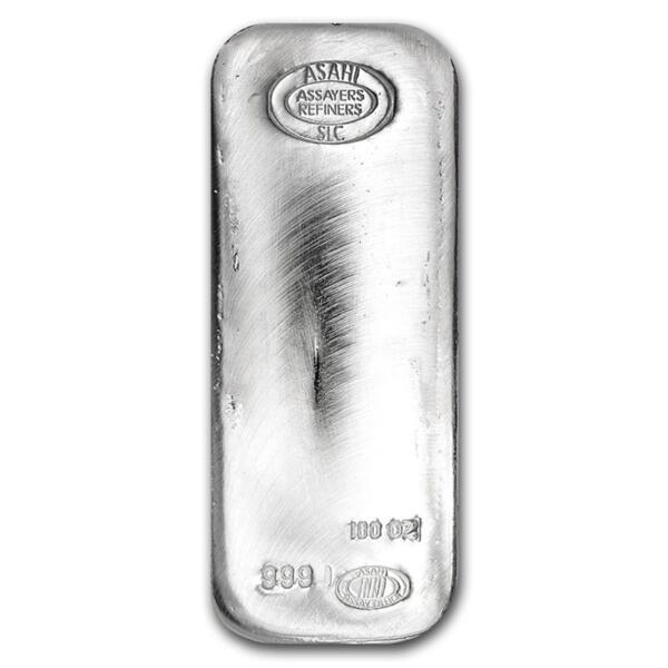 100 ounces  Silver Bar - Asahi Refining