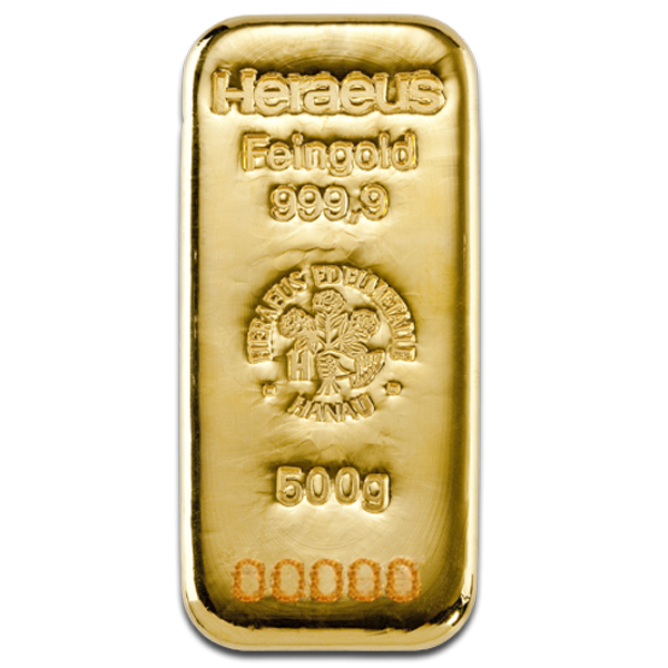 500 grams  Gold Bar - Heraeus