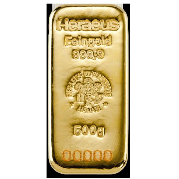 500 grams  Gold Bar - Heraeus