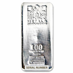 100 ounces  Silver Bar - Republic Metals Corporation