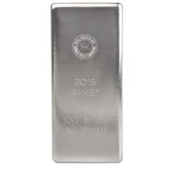 100 ounces  Silver Bar - Royal Canadian Mint