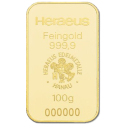 100 grams  Gold Bar - Heraeus