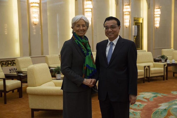 Chinese Vice Premier Li Keqiang meets with IMF's managing director Christine Lagarde