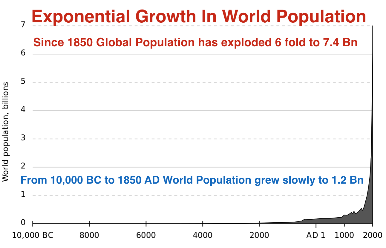 Exponential growth in world population