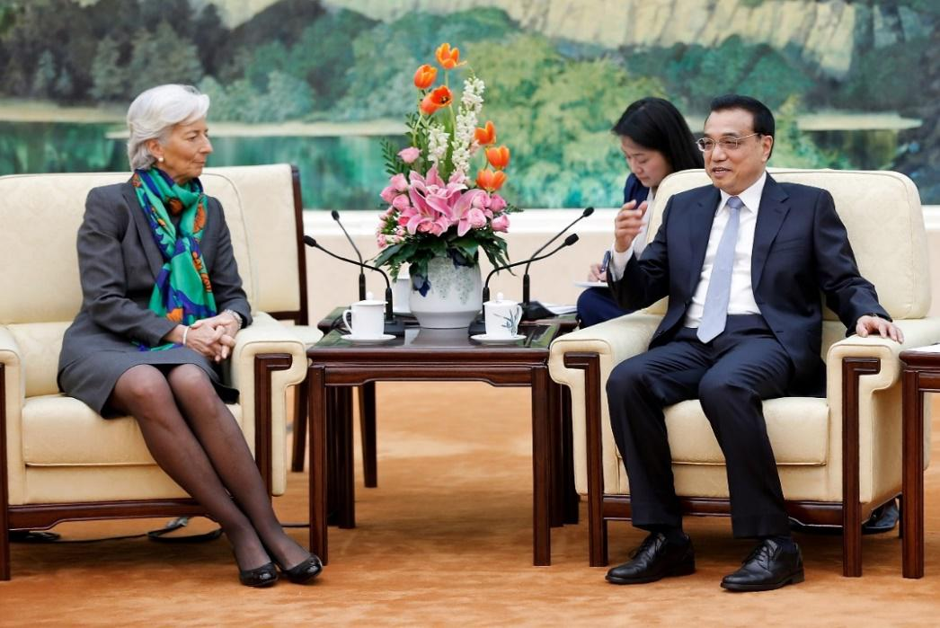 Chinese Vice Premier Li Keqiang meets with International Monetary Fund managing director Christine Lagarde