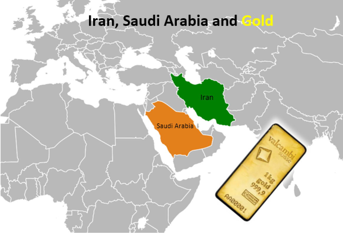 Map:  Saudi Arabia and Iran