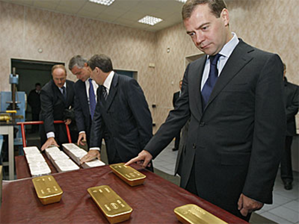 Dimitri Medvedev and Gold bars