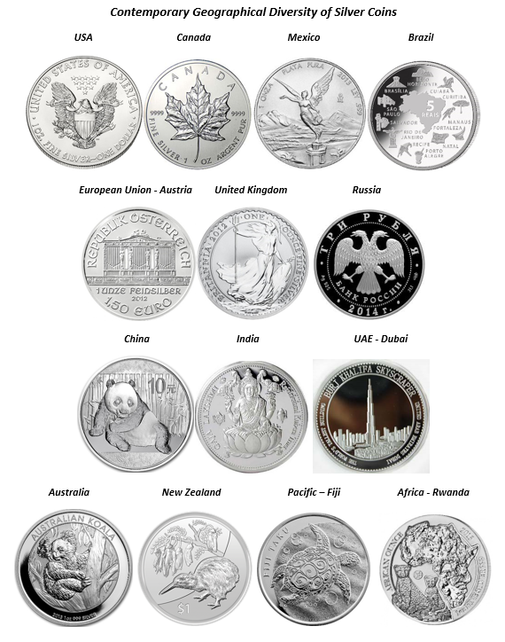 Contemporary Geographical Diversity of Silver Coins
