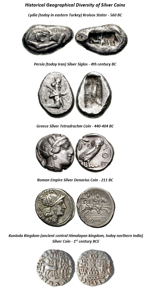 Historical Geographical Diversity of Silver Coins